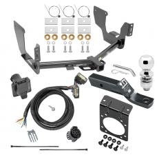 """Complete Tow Package For 15-20 Ford F-150 w/ 7-Way RV Wiring Harness Kit 2"""" Ball and Mount Bracket 2"""" Receiver Class 4"""