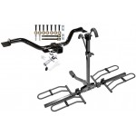 Trailer Tow Hitch For 07-18 Chevy Traverse GMC Acadia Buick Enclave Saturn Outlook Platform Style 2 Bike Rack w/ Anti Rattle Hitch Lock