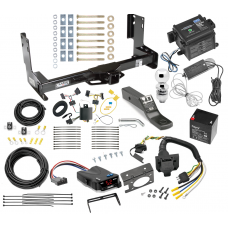 """Trailer Hitch and Brake Control Kit For 14-21 Mercedes-Benz Sprinter Freightliner 2500 3500 Controller 7-Way RV Wiring Breakaway Battery Charger Complete System Receiver 2"""" Tow Ball w/o factory step bumper"""