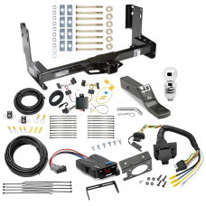 "Trailer Hitch and Brake Control Kit For 07-13 Mercedes-Benz Sprinter Freightliner 2500 3500 07-09 Dodge Sprinter 3500 Controller 7-Way RV Wiring Harness Complete System Receiver 2"" Tow Ball w/o factory step bumper"