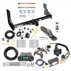 "Trailer Hitch and Brake Control Kit For 14-19 Mercedes-Benz Sprinter Freightliner 2500 3500 Tekonsha Prodigy P3 Brake Controller 7-Way RV Wiring Harness Complete System Receiver 2"" Tow Ball with factory step bumper"