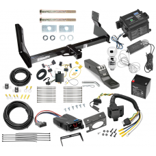 "Trailer Hitch and Brake Control Kit For 07-13 Mercedes-Benz Sprinter Freightliner Dodge 2500 3500 Controller 7-Way RV Wiring Breakaway Battery Charger Harness Complete System Receiver 2"" Tow Ball with factory step bumper"