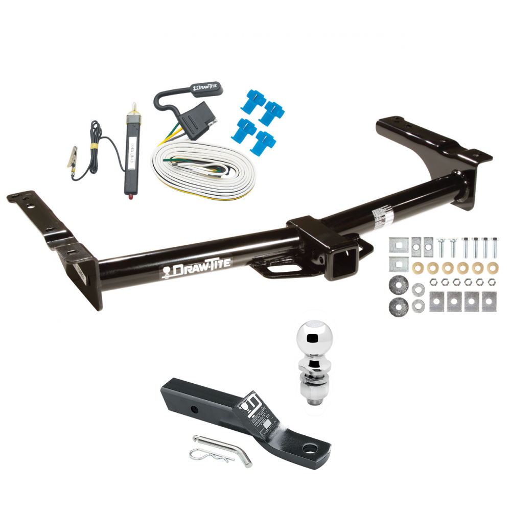 trailer tow hitch for 75-91 03-07 ford van e100 e150 e250 e350 complete  package w/ wiring