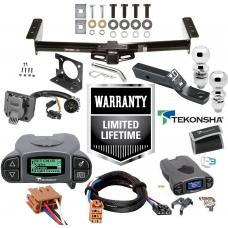 "Trailer Hitch w/ Tekonsha Prodigy P3 Brake Control For 00-02 Suburban Tahoe Yukon 2002 Escalade Avalanche w/ Plug Play Wiring 2"" 2- 5/16"" Ball 2"" Drop Mount 7-Way Pin Blade RV Controller"
