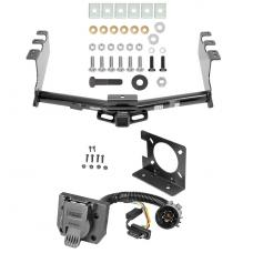 Class 4 Trailer Hitch w/ Wiring Kit For 14-18 Chevy Silverado GMC Sierra 2019 Legacy and Limited 7-Way Pin Blade RV 4-Flat Plug Harness Light w/ Bracket Round Tube
