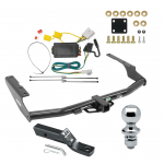 """Trailer Tow Hitch For 14-19 Toyota Highlander Complete Package w/ Wiring and 1-7/8"""" Ball"""