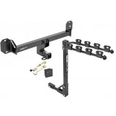 Trailer Tow Hitch w/ 4 Bike Rack For 16-21 Mercedes GLC300 tilt away adult or child arms fold down carrier w/ Lock and Cover