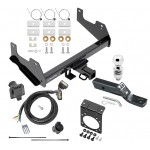 "Complete Tow Package For 15-19 Ford F-150 w/ 7-Way RV Wiring Harness Kit 2"" Ball and Mount Bracket 2"" Receiver Class IV"