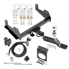 """Complete Tow Package For 15-20 Ford F-150 w/ 7-Way RV Wiring Harness Kit 2"""" Ball and Mount Bracket 2"""" Receiver Class IV"""