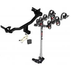 Trailer Tow Hitch For 18 Alfa Romeo Stelvio Except Quadrifoglio 4 Bike Rack w/ Hitch Lock and Cover