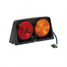 Dual Ag Trailer Light w/Red/Blank Amber/Amber w/Brake Light Function, Includes Right Hand 4-Flat Male Plug