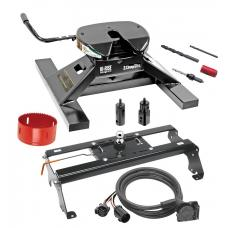 "Draw-Tite Gooseneck Trailer Hitch Kit Deluxe w/ 18K 5th Fifth Wheel Adapter In-Bed Wiring and Hole Saw for 03-12 Dodge Ram 2500 3500 06-08 1500 Mega Cab Turnover w/ Brackets Rails Under Bed 2-5/16"" Ball"