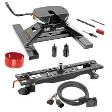 "Draw-Tite Gooseneck Trailer Hitch Kit Deluxe w/ 18K 5th Fifth Wheel Adapter In-Bed Wiring and Hole Saw for 07-17 Toyota Tundra Turnover w/ Brackets Rails Under Bed 2-5/16"" Ball"