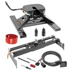 "Draw-Tite Gooseneck Trailer Hitch Kit Deluxe w/ 18K 5th Fifth Wheel Adapter In-Bed Wiring and Hole Saw for 88-00 Chevy GMC C/K 1500 2500 3500 Series Turnover w/ Brackets Rails Under Bed 2-5/16"" Ball Excluding 3500 Crew Cab"