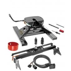 "Draw-Tite Gooseneck Trailer Hitch Kit Deluxe w/ 18K 5th Fifth Wheel Adapter In-Bed Wiring and Hole Saw for 01-07 Chevy GMC Silverado Sierra 3500 Turnover w/ Brackets Rails Under Bed 2-5/16"" Ball 8' Beds Only"