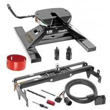 "Draw-Tite Gooseneck Trailer Hitch Kit Deluxe w/ 18K 5th Fifth Wheel Adapter In-Bed Wiring and Hole Saw for 99-19 Chevy GMC Silverado Sierra 1500 99-04 2500 LD Turnover w/ Brackets Rails Under Bed 2-5/16"" Ball"