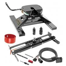 "Draw-Tite Gooseneck Trailer Hitch Kit Deluxe w/ 18K 5th Fifth Wheel Adapter In-Bed Wiring and Hole Saw for 11-19 Chevy GMC Silverado Sierra 2500 HD 3500 HD Turnover w/ Brackets Rails Under Bed 2-5/16"" Ball Excluding OEM Tow Prep"
