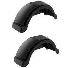 "Set of 2 Black Fulton Single Axle Trailer Fenders 14"" Wheels Top Step 31.3"" Long Boat Utility Sale Replacement"
