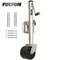 "Fulton Bolt-Thru Swivel Trailer Jack 1,500 lbs w/ Dual Wheels 10"" Lift Bolt-On"