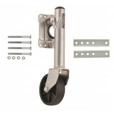 """Fulton Retaining Ring Swivel Trailer Jack Stand 400 lbs w/ 6"""" Caster Wheel Bolt-On - Fixed Length"""
