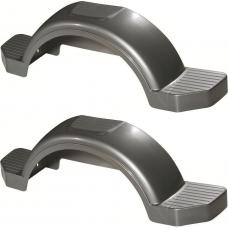 "Set of 2 Silver Fulton Single Axle Trailer Fenders 15"" Wheels Triple Step 45"" Long Boat Utility Sale Replacement"