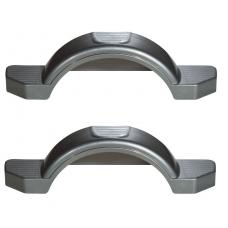 "Set of 2 Silver Fulton Single Axle Trailer Fenders 12"" Wheels Triple Step 33-1/2"" Long Boat Utility Sale Replacement"