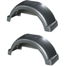 "Set of 2 Silver Fulton Single Axle Trailer Fenders 13"" Wheels Top Step 29-1/4"" Long Boat Utility Sale Replacement"