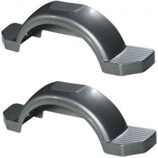 "Set of 2 Silver Fulton Single Axle Trailer Fenders 13"" Wheels Triple Step 40"" Long Boat Utility Sale Replacement"