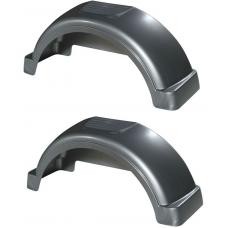 "Set of 2 Silver Fulton Single Axle Trailer Fenders 14"" Wheels Top Step 31.3"" Long Boat Utility Sale Replacement"