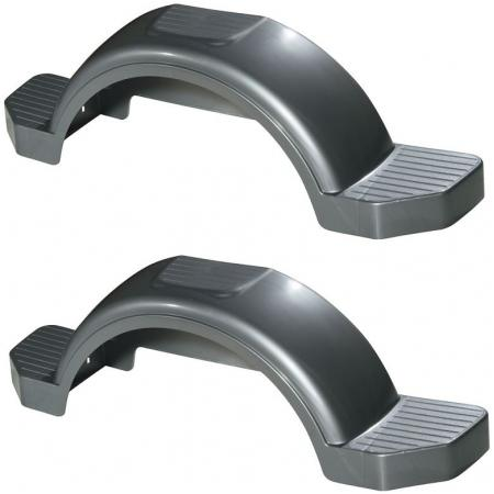 "Set of 2 Silver Fulton Single Axle Trailer Fenders 14"" Wheels Triple Step 42-5/8"" Long Boat Utility Sale Replacement"