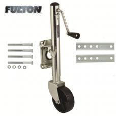 "Fulton Retaining Ring Swivel Trailer Jack 1,200 lbs w/ 6"" Caster Wheel 10"" Lift Bolt-On"