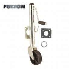 "Fulton Retaining Ring Swivel Trailer Jack 1,200 lbs w/ 6"" Caster Wheel 10"" Lift Weld-On"