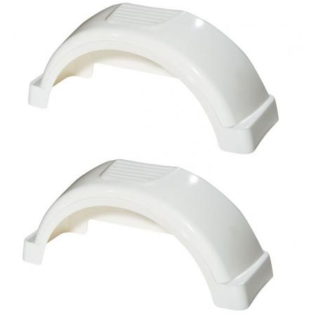 """Set of 2 White Fulton Single Axle Trailer Fenders 12"""" Wheels Top Step 23-11/16"""" Long Boat Utility Sale Replacement"""