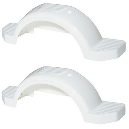 "Set of 2 White Fulton Single Axle Trailer Fenders 14"" Wheels Triple Step 42-5/8"" Long Boat Utility Sale Replacement"