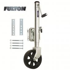 "Fulton Bolt-Thru Swivel Trailer Jack 1,500 lbs w/ 8"" Caster Wheel 10"" Lift Bolt-On"