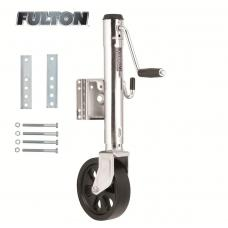 "Fulton Bolt-Thru Swivel Trailer Jack 1,500 lbs w/ Dual Wheel 12"" Lift Bolt-On"