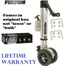 "Fulton F2 Trailer Jack 1,600 lbs. Bolt-On w/ Dual 7"" Wheels Fits 3""x3"" & 3'x4"" Frames w/ Wheel Wedge"