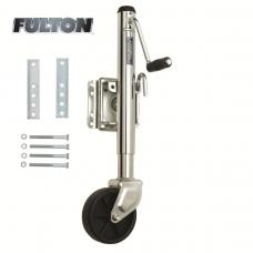"Fulton Bolt-Thru Swivel Trailer Jack 1,200 lbs w/ 6"" Caster Wheel 10"" Lift Bolt-On"