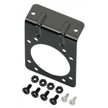Mounting Bracket for 7-Way RV Round Tow Plug Harness Flat Pin Connectors, Includes Screws and Nuts