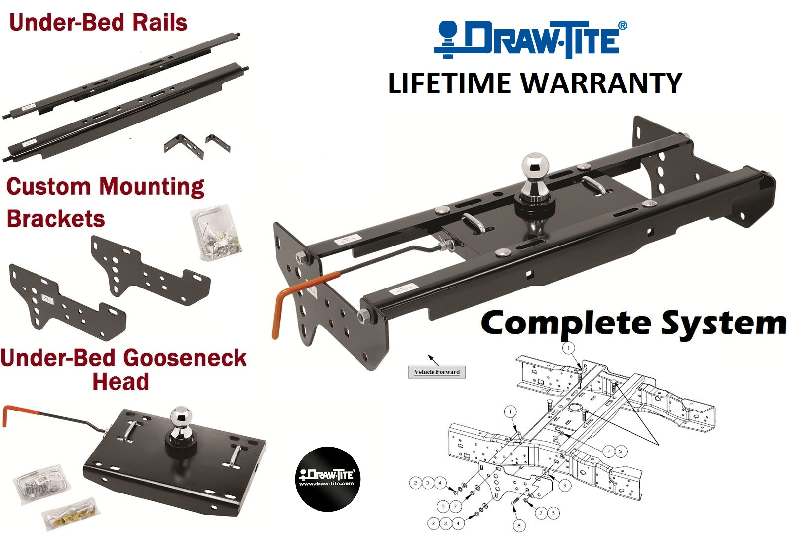 1999-2016 Ford F-250 F-350 F-450 Complete Under Bed Gooseneck Trailer Hitch System Hide-A-Goose