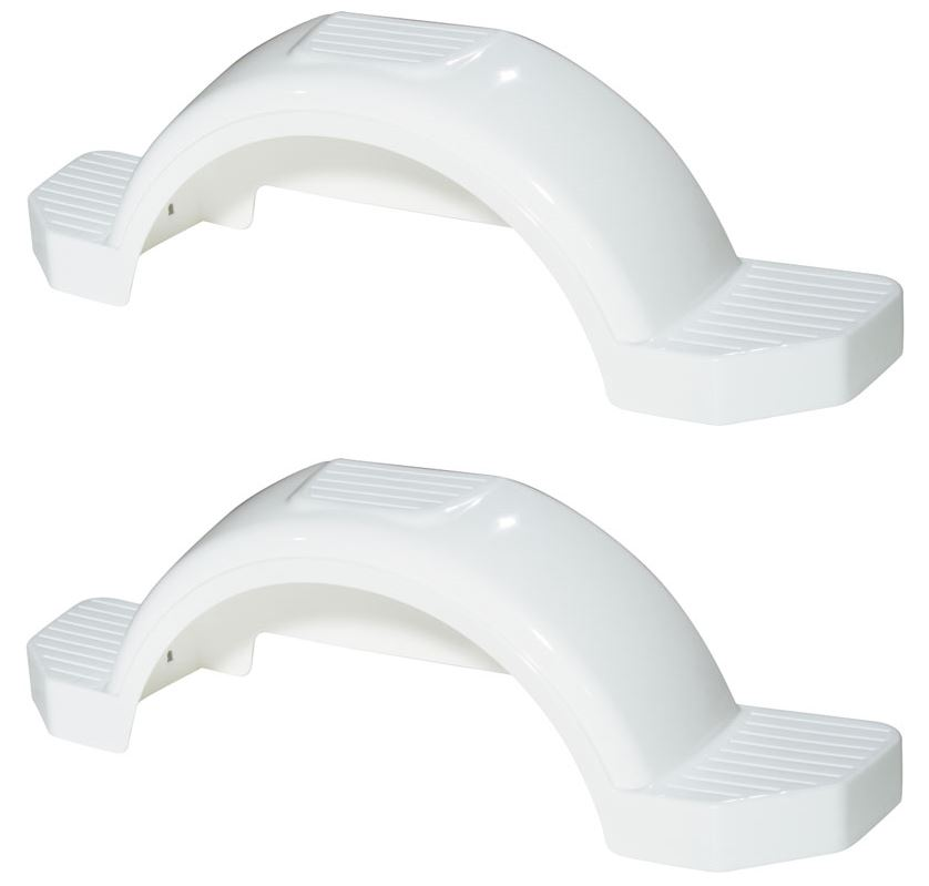 Set of 2 White Fulton Single Axle Trailer Fenders 13